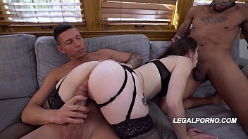 Big butt slut Anastasia Rose gets her butthole, pussy & face fucked by 3