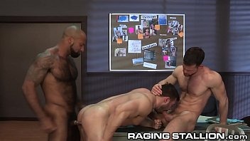 RagingStallion Hairy Interracial Muscle Hunk Group Sex At Work