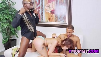 Hot interracial threeway fucking