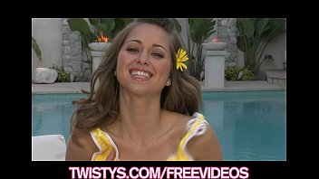 Cute teen brunette rubs her clit poolside
