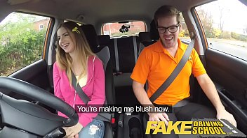 Fake Driving School hot Italian learner with big natural tits fucks for her exam 15 min