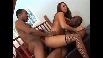 Big booty bitch Alisandra gets her asshole and pussy fucked by black cocks