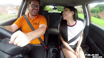Asian babe publicly fucked by driving instructor 8 min