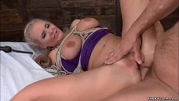 Bound to bamboo busty MILF anal fucked