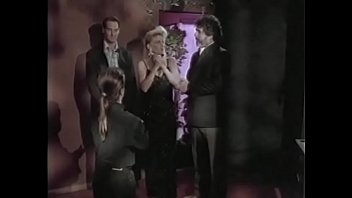 Glamorous blonde with big melons meets stud in bar cellar then gets facial