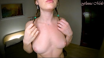 Massaging beautiful small breasts with oil, slow motion video. Anna Mole