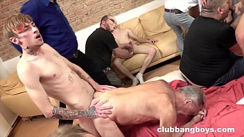 Gay orgy with a bunch of young and old studs