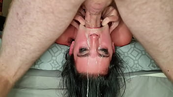CoverSlut gets rewarding throatpie after being throated   sloppy upside down face fuck