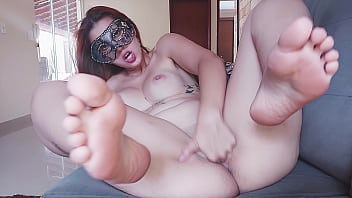 Redhead Teen Masturbates Moaning with Pleasure Showing her Feet - Great Orgasm at the end