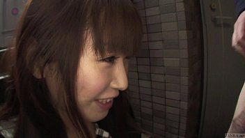 Uncensored Japanese blowjob outside of locked apartment 5 min
