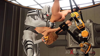 Hard Sex In The Sci-Fi Lab! Hot Blonde In Restraints Gets Fucked By An Alien