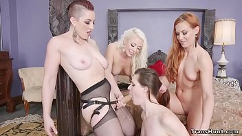 Group of girls dominates shemale