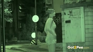 Night vision pussy Public pissing - night vision catches a hot european peeing outside