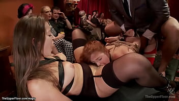 Two busty bound service sluts Dani Daniels and Penny Pax are rough anal fucked by big dick of Ramon Nomar in the Upper Floor party with guests