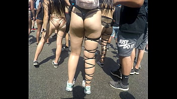 Candid Asian Ass in Thong Music Festival