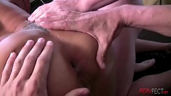 Busty blonde tattooed milf gets her asshole pounded by a group of guys thumbnail