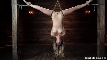 Blonde in upside down suspension hogtied