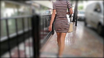 Hot Wife Walking In Tight Dress Wiggling Sexy Booty
