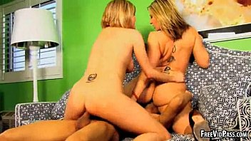 Two sexy blondes ride cock
