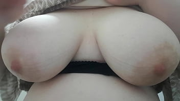 Playing with my tits at work