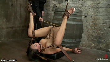 Gagged and tied lesbian sub caned