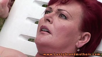 Ginger mature granny fingered outdoors