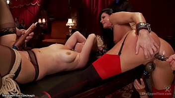 MILF and babe bound and group fucked