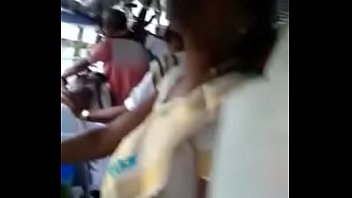 Girl showing her navel in bus part 2