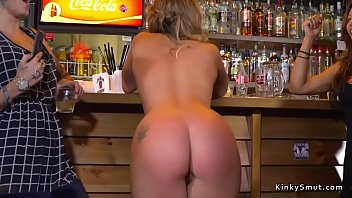 Mistress and slave fucked in bar