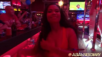 ASIANSEXDIARY Curly Haired Asian Spits and Twists On Big Foreign Dick