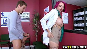 Anna Bell rides Xander Corvus on top over the counter
