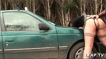 Hot slut sodomized on the hood of the car with Papy Voyeur