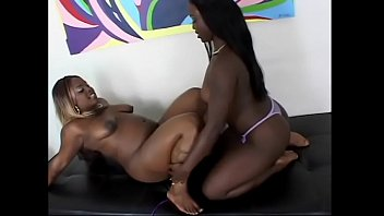 Blonde and brunette black lesbians with huge tits eat and fuck tight pussies by dildos