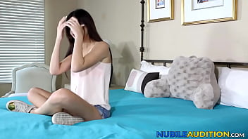 Sex auditions with brunette chick end with cum in mouth shot