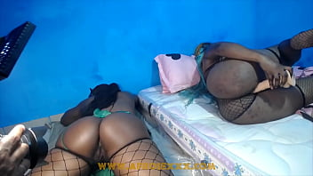 Ebony prostitute touching their pussies while smoking cigarette