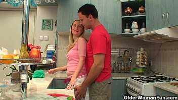 Mature in kitchen - This is what mom loves to do in the kitchen