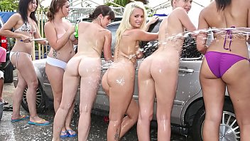 Wash breast with soap - College rules - car wash orgy with sexy young teen students