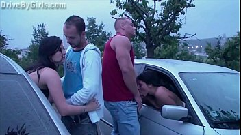 A new girl is joining a public sex gang bang dogging orgy in progress