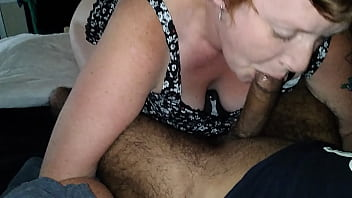 White Milf sucking and gagging on my BBC like a good bitch
