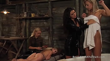 Deep Merciless Strapon Penetration For Tied Up Lesbian Slave