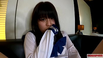 18 years old teen Japanese with small tits squirts and gets orgasm with finger bang and sex toy. Amateur Asian with school costume cosplay gives blowjob deeply. Mao 7 OSAKAPORN
