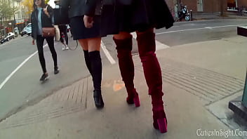 Candid thigh high boots with upskirt thumbnail