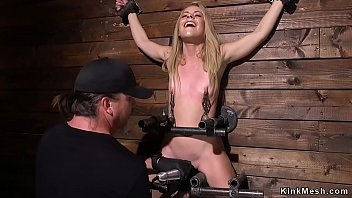 Blonde squirter fucked with dick on a stick