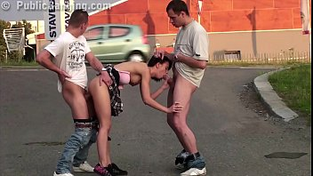 Tiny lil girl publicly fucked by 2 huge dicks on the street