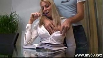 Sexy attractive german blonde teacher fuckers her student on tape