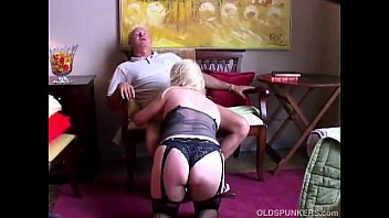 Cute Old Spunker In Sexy Stockings Loves To Suck Cock And Eat Cum