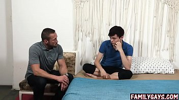 Gay dad tricks blindfolded son into threesome sex