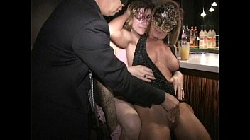 Big nipple masked MILF Carla eats out cunt and sucks cock at bar