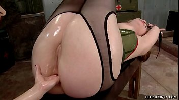 Blonde lesbian anal fisted and banged