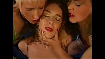lesbian face and pussy licking of cum covered Adriana